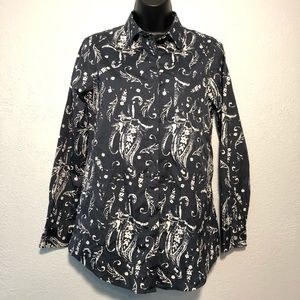 ORVIS long sleeve button up blue grey floral Sz 4